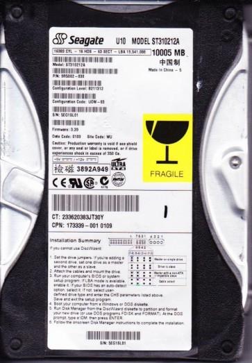 ST310212A, 5EG, WU, PN 9R5002-030, FW 3.39, Seagate 10GB IDE 3.5 Hard Drive