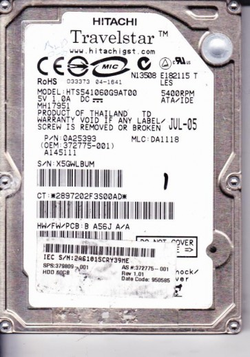 HTS541060G9AT00, PN 0A25393, MLC DA1118, Hitachi 60GB IDE 2.5 Hard Drive