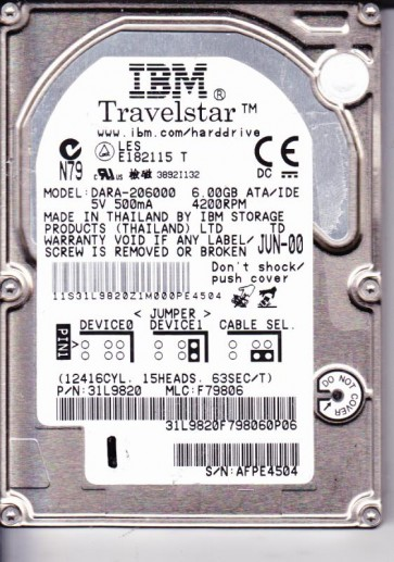 DARA-206000, PN 0A25393, MLC DA1118, IBM 6GB IDE 2.5 Hard Drive