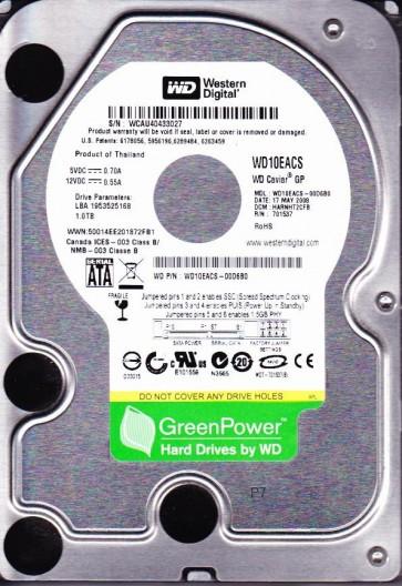 WD10EACS-00D6B0, DCM HARNHT2CFB, Western Digital 1TB SATA 3.5 Hard Drive