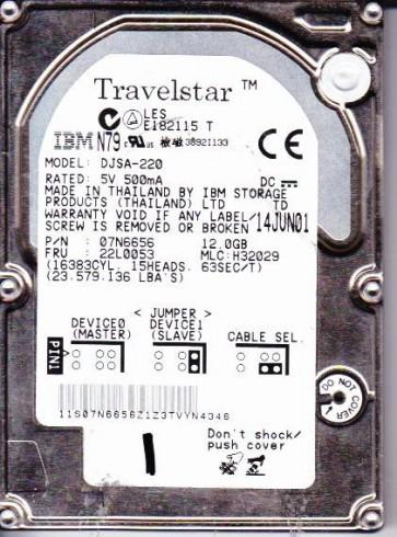 DJSA-220, PN 07N6656, MLC H32029, IBM 12GB IDE 2.5 Hard Drive