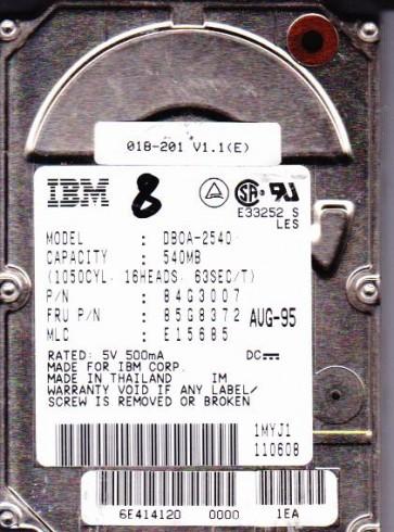 DB0A-2540, PN 84G3007, MLC E15685, IBM 540MB IDE 2.5 Hard Drive