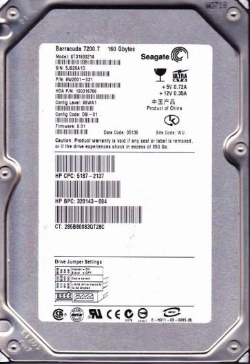 ST3160021A, 5JS, WU, PN 9W2001-031, FW 8.01, Seagate 160GB IDE 3.5 Hard Drive