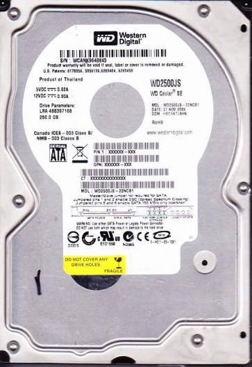 WD2500JS-22NCB1, DCM HBCANTJAHN, Western Digital 250GB SATA 3.5 Hard Drive