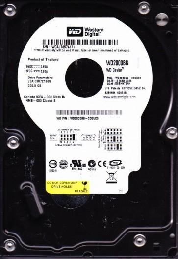 WD2000BB-00GUC0, DCM DSBHNT2AH, Western Digital 200GB IDE 3.5 Hard Drive