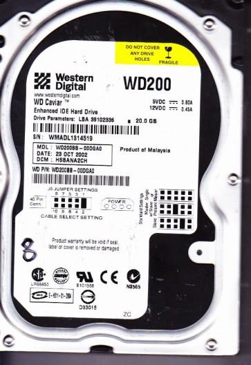 WD200BB-00DGA0, DCM HSBANA2CH, Western Digital 20GB IDE 3.5 Hard Drive