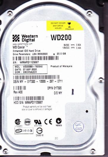 WD200BB-75DEA0, DCM DSCHNA2CH, Western Digital 20GB IDE 3.5 Hard Drive