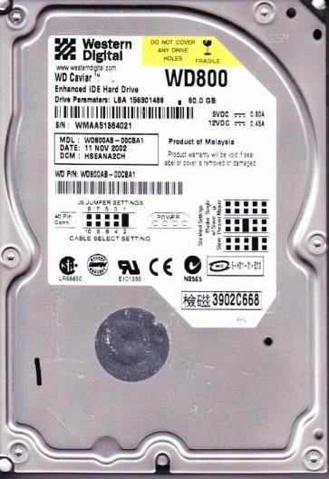 WD800AB-00CBA1, DCM HSEANA2CH, Western Digital 80GB IDE 3.5 Hard Drive