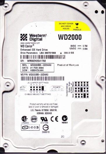 WD2000BB-22DWA0, DCM HSBHCVJAH, Western Digital 200GB IDE 3.5 Hard Drive