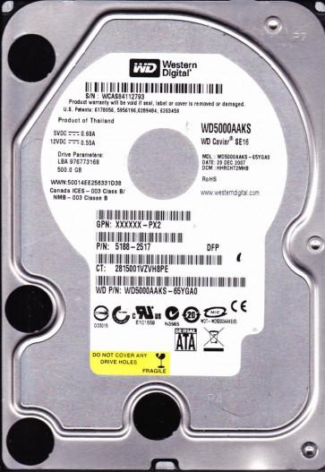 WD5000AAKS-65YGA0, DCM HHRCHT2MHB, Western Digital 500GB SATA 3.5 Hard Drive