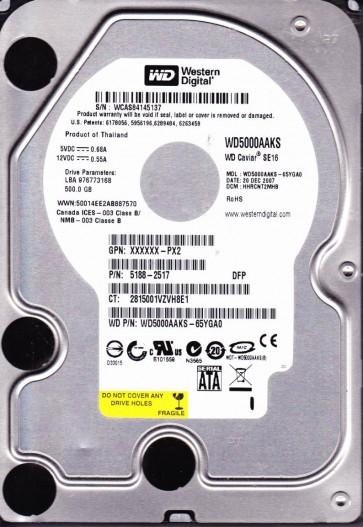 WD5000AAKS-65YGA0, DCM HHRCNT2MHB, Western Digital 500GB SATA 3.5 Hard Drive
