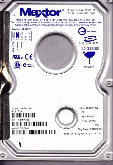 6Y200P0, Code YAR41BW0, KMBA, Maxtor 200GB IDE 3.5 Hard Drive