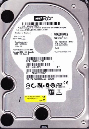 WD5000AAKS-65YGA0, DCM DHRCHT2MHB, Western Digital 500GB SATA 3.5 Hard Drive