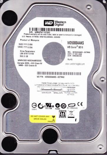 WD5000AAKS-00TMA0, DCM HBNCNV2CB, Western Digital 500GB SATA 3.5 Hard Drive