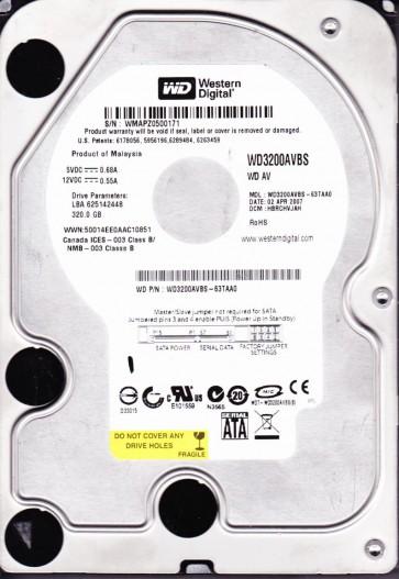WD3200AVBS-63TAA0, DCM HBRCHVJAH, Western Digital 320GB SATA 3.5 Hard Drive