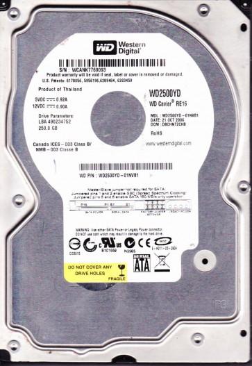 WD2500YD-01NVB1, DCM DBCHNT2CHB, Western Digital 250GB SATA 3.5 Hard Drive