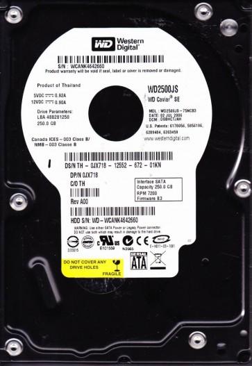 WD2500JS-75NCB3, DCM DSBHCTJAH, Western Digital 250GB SATA 3.5 Hard Drive