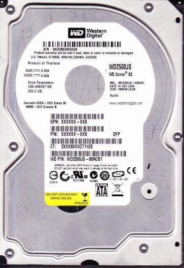 WD2500JS-60NCB1, DCM HBBHNTJCHB, Western Digital 250GB SATA 3.5 Hard Drive
