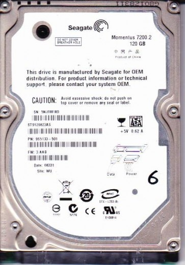 ST9120823AS, 5NJ, WU, PN 9S5133-501, FW 3.AAB, Seagate 120GB SATA 2.5 Hard Drive