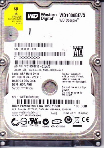 WD1000BEVS-22LAT0, DCM HOTJANB, Western Digital 100GB SATA 2.5 Hard Drive