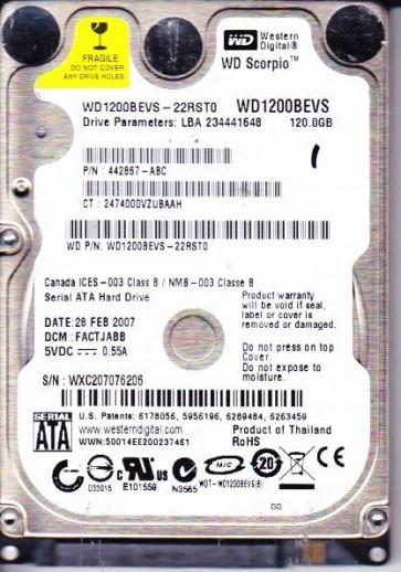 WD1200BEVS-22RST0, DCM FACTJABB, Western Digital 120GB SATA 2.5 Hard Drive