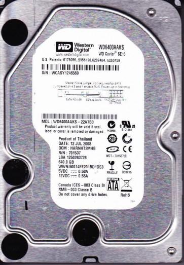 WD6400AAKS-22A7B0, DCM HARNHT2MHB, Western Digital 640GB SATA 3.5 Hard Drive