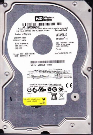 WD3200JS-00PDB0, DCM HHCHCA2AA, Western Digital 320GB SATA 3.5 Hard Drive