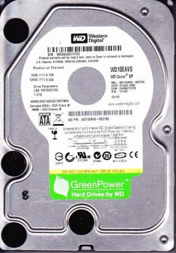 WD10EAVS-98D7B0, DCM DHRNHT2CFB, Western Digital 1TB SATA 3.5 Hard Drive