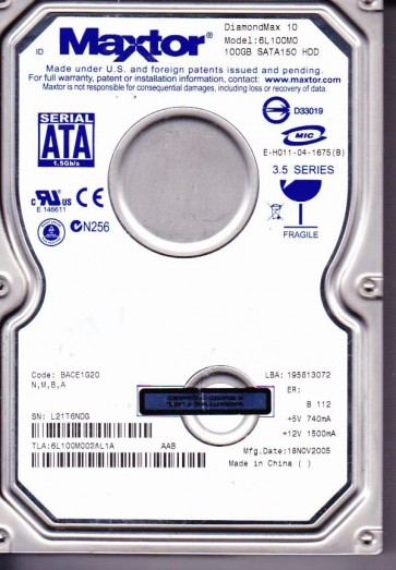 6L100M0, Code BACE1G20, NMBA, Maxtor 100GB SATA 3.5 Hard Drive