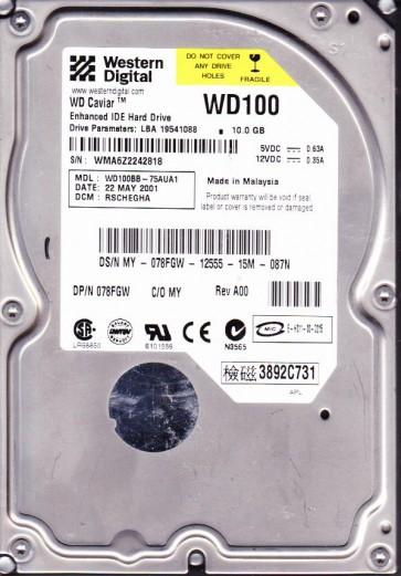 WD100BB-75AUA1, DCM RSCHEGHA, Western Digital 10GB IDE 3.5 Hard Drive