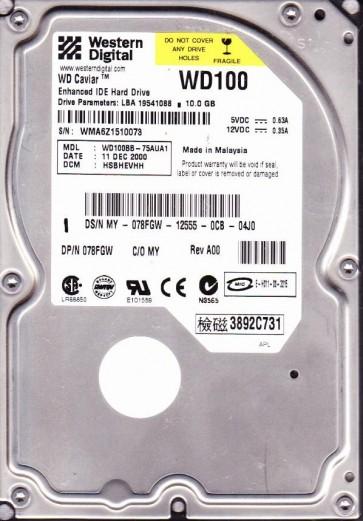 WD100BB-75AUA1, DCM HSBHEVHH, Western Digital 10GB IDE 3.5 Hard Drive