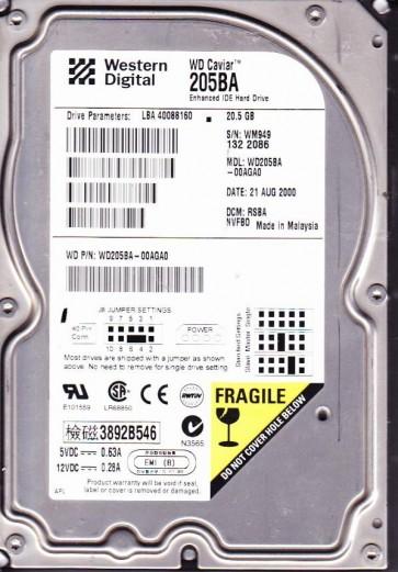 WD205BA-00AGA0, DCM RSBANVFB0, Western Digital 20.5GB IDE 3.5 Hard Drive