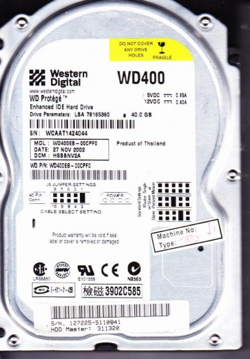 WD400EB-00CPF0, DCM HSBBNV2A, Western Digital 40GB IDE 3.5 Hard Drive