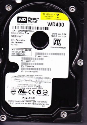 WD400BD-22JMC0, DCM HSBHNTJCH, Western Digital 40GB SATA 3.5 Hard Drive