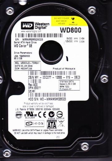 WD800JD-75MSA1, DCM HSCANTJAA, Western Digital 80GB SATA 3.5 Hard Drive