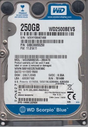 WD2500BEVS-26VAT0, DCM DBCTJBNB, Western Digital 250GB SATA 2.5 Hard Drive
