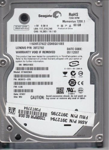 ST96023AS, 5MG, WU, PN 9S3013-070, FW 4.06, Seagate 60GB SATA 2.5 Hard Drive