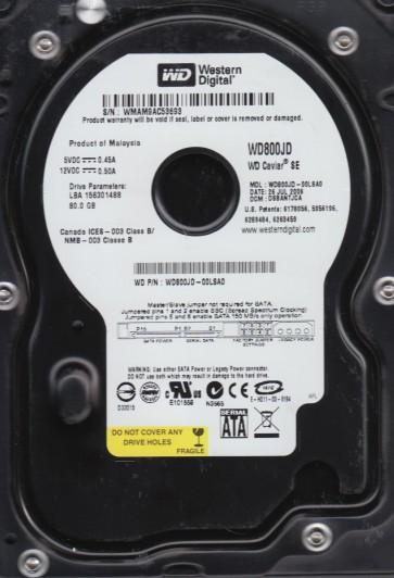 WD800JD-00LSA0, DCM DSBANTJCA, Western Digital 80GB SATA 3.5 Hard Drive