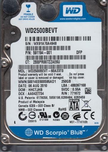 WD2500BEVT-60A23T0, DCM HHCTJHB, Western Digital 250GB SATA 2.5 Hard Drive