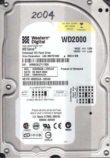 WD2000JB-00DUA3, DCM HSBHNVJCH, Western Digital 200GB IDE 3.5 Hard Drive