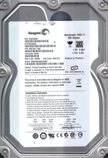 ST3750330AS, 9QK, KRATSG, PN 9BX156-568, FW SD35, Seagate 750GB SATA 3.5 Hard Drive