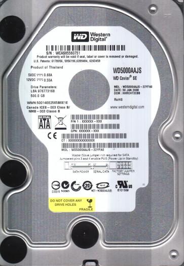 WD5000AAJS-22YFA0, DCM HHRCHT2CBB, Western Digital 500GB SATA 3.5 Hard Drive