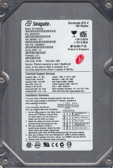 ST3120023A, 3KA, AMK, PN 9W4001-011, FW 3.31, Seagate 120GB IDE 3.5 Hard Drive