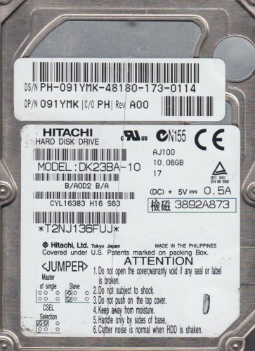 DK23BA-10, PN B/A0D2B/A, Hitachi 10GB IDE 2.5 Hard Drive