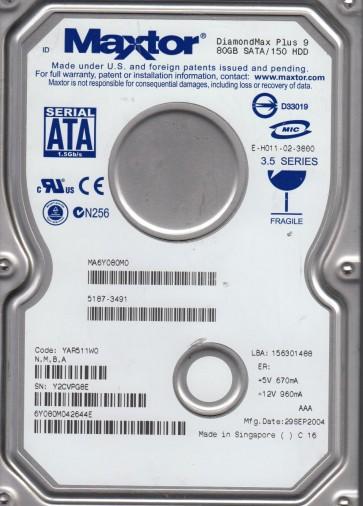 6Y080M0, Code YAR511W0, NMBA, Maxtor 80GB SATA 3.5 Hard Drive