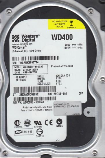 WD400BB-60DGA0, DCM HSBHNV2CH, Western Digital 40GB IDE 3.5 Hard Drive