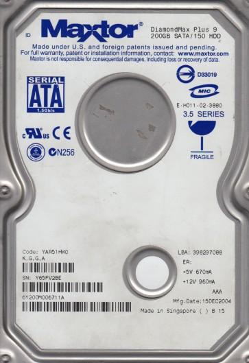 6Y200M0, Code YAR51HW0, KGGA, Maxtor 200GB SATA 3.5 Hard Drive
