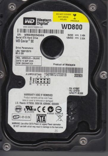 WD800JD-08LSA0, DCM DSCHNTJCA, Western Digital 80GB SATA 3.5 Hard Drive
