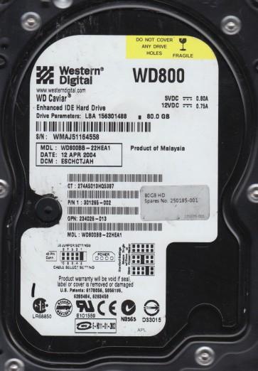 WD800BB-22HEA1, DCM ESCHCTJAH, Western Digital 80GB IDE 3.5 Hard Drive