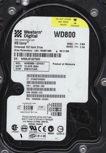 WD800BB-22HEA1, DCM ESBHCTJAA, Western Digital 80GB IDE 3.5 Hard Drive